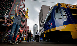 Demonstrators block a light rail train during a march for solidarity with anti-racists in Charlottesville Monday, Aug. 14, 2017 that ended in downtown Minneapolis, MN, USA. Photo by Carlos Gonzalez/Minneapolis Star Tribune/TNS/ABACAPRESS.COM