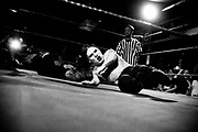 May 14, 2009-Denver, Colorado, USA-Micro Wrestling Federation wrestler Blixx, right, hits the floor after taking down Ricky during their match at 3 Kings Tavern. (Credit Image: Bret Hartman/Zuma Press)