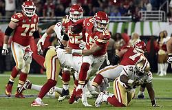 February 2, 2020, Miami Gardens, FL, USA: Kansas City Chiefs quarterback Patrick Mahomes (15) scrambles for a big gain in the fourth quarter of Super Bowl 54 on Sunday, Feb. 2, 2020 at Hard Rock Stadium in Miami Gardens, FL. (Credit Image: © TNS via ZUMA Wire)