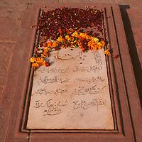 Asia, India, Uttar Pradesh, Fatehpur Sikri. A tombstone in the courtyard at Fatehpur Sikri.