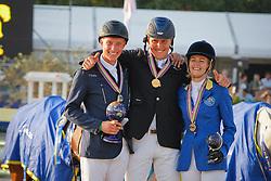 Podium 7 years old horses<br /> 1. Brocks Karl (GER) <br /> 2. Stevens mario (GER)<br /> 3. Melchior Judy Ann (BEL)<br /> World Championship Young Horses Lanaken 2009<br /> © Hippo Foto - Dirk Caremans