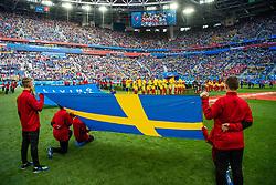 July 3, 2018 - St Petersburg, RUSSIA - 180703 Line up with a Swedish flag in the foreground prior to the FIFA World Cup round of 16 match between Sweden and Switzerland on July 3, 2018 in St Petersburg..Photo: Joel Marklund / BILDBYRÃ…N / kod JM / 87748 (Credit Image: © Joel Marklund/Bildbyran via ZUMA Press)