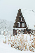 Winter landscape with covered in snow house, Shirakawa-go, Japan
