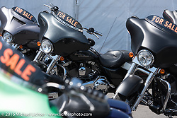 Used Harley-Davidsons for sale on Lazelle Street during the Annual Sturgis Black Hills Motorcycle Rally.  SD, USA.  August 7, 2016.  Photography ©2016 Michael Lichter.