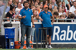 (L-R) coach Max Caldas of The Netherlands, assistent coach Graham Reid during the Champions Trophy match between the Netherlands and France on the fields of G.H.C. Rapid on June 15th, 2018 in Gorinchem, The Netherlands.