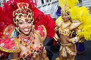 Paraiso school of Samba perform at the Notting Hill Carnival, London, UK.
