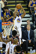 Golden State Warriors forward Andre Iguodala (9) takes a three point attempt against the Portland Trail Blazers at Oracle Arena in Oakland, Calif., on October 21, 2016. (Stan Olszewski/Special to S.F. Examiner)
