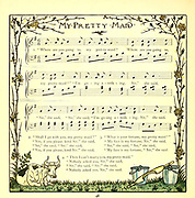 """""""Where are you going to, my pretty maid?"""" / """"I'm going a-milking, sir,"""" she said. From the Book '  The baby's opera : a book of old rhymes, with new dresses by Walter Crane, and Edmund Evans Publishes in London and New York by F. Warne and co. in 1900"""