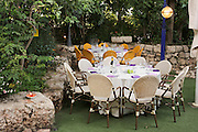 Formal garden party reception setting