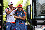 Swansea city players Andre Ayew (l) shares a joke with Jefferson Montero as they arrive at the stadium before the match. Barclays Premier league match, Swansea city v Manchester city at the Liberty Stadium in Swansea, South Wales on Sunday 15th May 2016.<br /> pic by Andrew Orchard, Andrew Orchard sports photography.