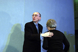 The BSE Report. Family press conference, Malcolm Tibbert, Chairman of The Human BSE Foundation and Francis Hall, secretary, leave after the press conference, September 25, 2000. Photo by Andrew Parsons/i-Images.