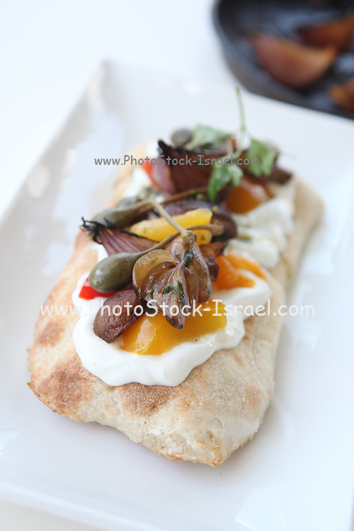 Italian style Antipasti on a Focaccia with cheese