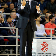 Zalgiris Kaunas's coach Joan Plaza during their Turkish Airlines Euroleague Beskatball Top 16 Game 5 Anadolu Efes between Zalgiris Kaunas at Abdi Ipekci Arena in Istanbul Turkey on Friday 25 January 2013. Photo by Aykut AKICI/TURKPIX