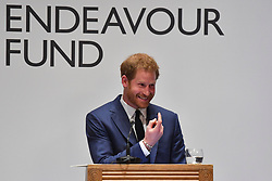 Prince Harry announces the winner of the Henry Worsley Award at the annual Endeavour Fund Awards at Goldsmiths' Hall in London, which celebrates the achievements of wounded, injured and sick servicemen and women who have taken part in sporting and adventure challenges over the last year.