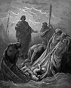 The miraculous draught of fishes. Luke: 5:6. From Gustave Dore's illustrated 'Bible' 1865