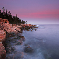 Maine Acadia National Park seacoast fine art photography prints are available as museum quality photography prints, canvas prints, acrylic prints or metal prints. Prints may be framed and matted to the individual liking and room decor needs:<br /> <br /> http://juergen-roth.artistwebsites.com/featured/ship-harbor-sunset-in-maine-acadia-national-park-juergen-roth.html<br /> <br /> Classic seacoast photography sunset view of the Maine rocky shoreline at Ship Harbor in Acadia National Park where I positioned the rocky granite seascape with evergreens to lead the viewer through the photograph and towards the beautiful pink sky formation. <br /> <br /> Acadia NP is a National Park located in the U.S. state of Maine. It reserves much of Mount Desert Island, and associated smaller islands, off the Atlantic coast. Originally created as Lafayette National Park in 1919, the first National Park East of the Mississippi, it was renamed Acadia in 1929. The park is one of the most visited wildlife areas in the United States and a paradise for every photographer and outdoor enthusiast. The park loop road provides easy access to many of the iconic photography subjects, such as Monument Cove, The Beehive, Sand Beach, Jordan Pond and the Bubbles, Bubble Pond, Otter Cliff to name only a few. The carriage roads and hiking trails provide further access to more remote locations where the park continues to inspire and unfolds its full magic. It is a heaven for macro, seascape, and landscape photography that makes for great wall art decoration. Especially sunrise and the light of the golden hours paint the sky in beautiful blue and orange and brings out the beauty of the pink granite rocks.<br /> Good light and happy photo making! <br /> <br /> My best, <br /> <br /> Juergen <br /> Art Prints: www.RothGalleries.com <br /> Image Licensing: www.ExploringTheLight.com <br /> Photo Blog: http://whereintheworldisjuergen.blogspot.com <br /> @NatureFineArt <br /> https://www.facebook.com/naturefine