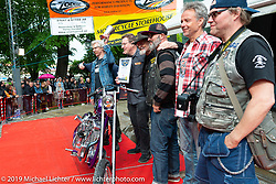 Charlie Swordson on stage getting his Best of Show award for his 1970's Harley-Davidson Shovelhead chopper at the Twin Club's annual Custom Bike Show in Norrtälje, Sweden. Saturday, June 1, 2019. Photography ©2019 Michael Lichter.