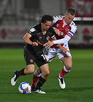 Hull City's George Honeyman battles with Fleetwood Town's Paul Coutts<br /> <br /> Photographer Dave Howarth/CameraSport<br /> <br /> The EFL Sky Bet League One - Fleetwood Town v Hull City - Friday 9th October 2020 - Highbury Stadium - Fleetwood<br /> <br /> World Copyright © 2020 CameraSport. All rights reserved. 43 Linden Ave. Countesthorpe. Leicester. England. LE8 5PG - Tel: +44 (0) 116 277 4147 - admin@camerasport.com - www.camerasport.com