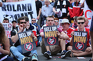 Charlton fans performing a sit down protest during the Sky Bet Championship match between Charlton Athletic and Burnley at The Valley, London, England on 7 May 2016. Photo by Matthew Redman.