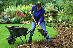 Alan Titchmarsh preparing the ground by forking in manure