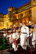 Shriji Arvind Singh, Custodian of the House of Mewar, & son Lakshyaraj Singh at Holi Fire Festival, City Palace, Udaipur, India