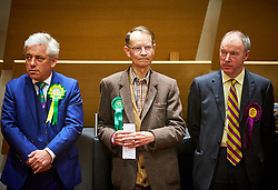 © Licensed to London News Pictures. 09/06/2017. Aylesbury, UK.  Speaker John Bercow (far left) waits to hear the result of the Buckingham constituency in the 2017 general election. Nearly 2,000 votes were spoiled or otherwise invalid reflecting growing anger over the continued disenfranchisement of the area. Also in this picture: Michael Sheppard (Green) (centre), Brian James Mapletoft (UKIP) (right).  Photo credit: Cliff Hide/LNP