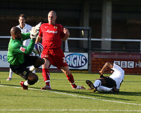 Photo: Mark Stephenson.<br /> Hereford United v Milton Keynes Dons. Coca Cola League 2. 20/10/2007.Hereford's Theo Robinson  (R)  comes close to scoring in the first half