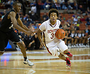 Mark Howell (3) of South Grand Prairie drives toward the basket against Rashaun Kelly (22) of Cibolo Steele during the UIL Conference 5A semifinals at the Frank Erwin Center in Austin on Friday, March 8, 2013. (Cooper Neill/The Dallas Morning News)