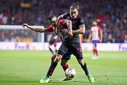 May 3, 2018 - Madrid, Spain - Atletico de Madrid Vitolo Machin and Arsenal FC Hector Bellerin during Europa League Semi Finals Second Leg match between Atletico de Madrid and Arsenal FC at Wanda Metropolitano in Madrid, Spain. May 03, 2018. (Credit Image: © Coolmedia/NurPhoto via ZUMA Press)