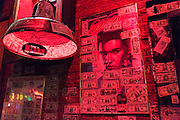 Iconic Elvis Presley memorabilia and signed dollar bills in club in Beale Street famous for Rock and Roll and Blues, Memphis