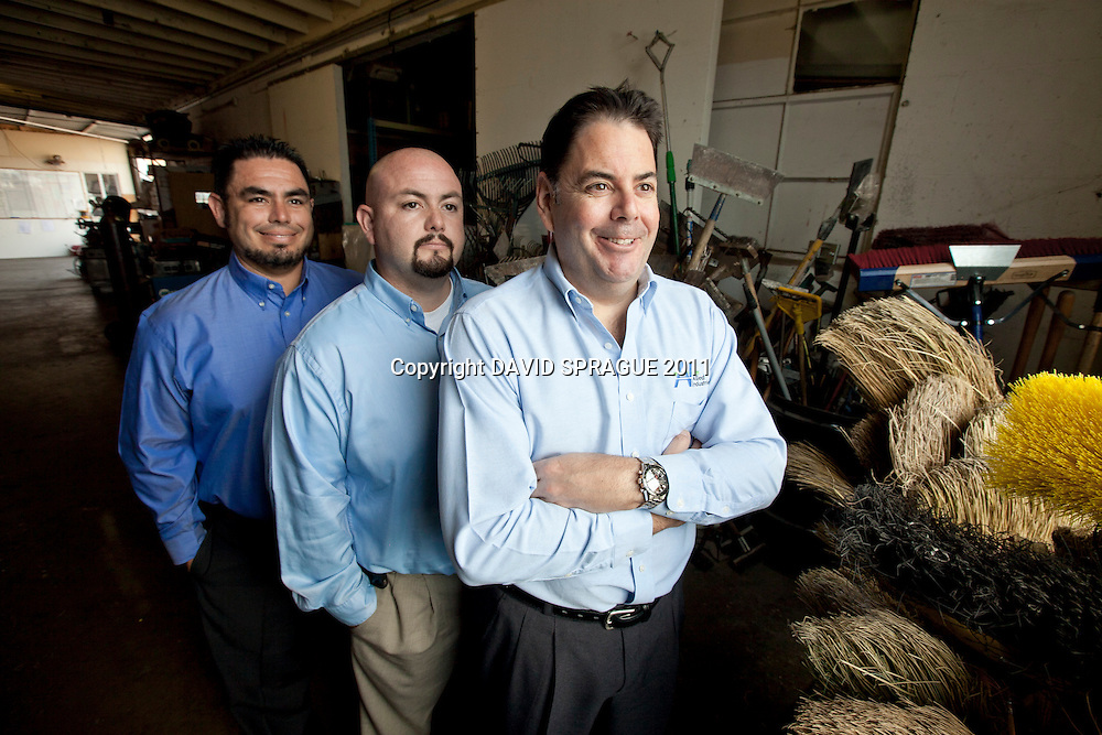 The brothers of Allied Industries, from left to right, Fernando Gutierrez, COO, Cesar Gutierrez, Operations Manager, and Ernie Gutierrez, CEO at their facility in North Hollywood, CA. September 13,  2011. Photo by David Sprague