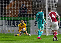 LONDON, ENGLAND - Friday, October 30, 2020: Liverpool's goalkeeper Caoimhin Kelleher makes a save during the Premier League 2 Division 1 match between Arsenal FC Under-23's and Liverpool FC Under-23's at Meadow Park. Liverpool won 1-0. (Pic by David Rawcliffe/Propaganda)