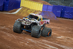 December 16, 2017 - Sao Paulo, Sao Paulo, Brazil - Zombie with flat tire  during a round of racing. Monster Jam was held at Corinthians Stadium, in Sao Paulo, Brazil. (Credit Image: © Paulo Lopes via ZUMA Wire)