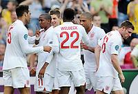 Fotball , 11. juni 2012 , Euro , England - Frankrike<br /> 0:1 Jubel v.l. Torschuetze Joleon Lescott, Ashley Young, Danny Welbeck, Steven Gerrard, Glen Johnson, James Milner (England)<br /> Norway only
