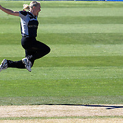 Kate Pulford celebbrates after taking the wicket of Anagha Deshpande caught behind during the match between New Zealand and India in the Super 6 stage of the ICC Women's World Cup Cricket tournament at North Sydney  Oval, Sydney, Australia on March 17, 2009. Photo Tim Clayton