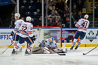 KELOWNA, CANADA - SEPTEMBER 22:  Dylan Ferguson #31 of the Kamloops Blazers makes a save against the Kelowna Rockets on September 22, 2018 at Prospera Place in Kelowna, British Columbia, Canada.  (Photo by Marissa Baecker/Shoot the Breeze)  *** Local Caption ***