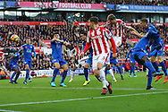 Peter Crouch of Stoke City (25)  heads and scores his teams 2nd goal to make it 2-2. Premier league match, Stoke City v Leicester City at the Bet365 Stadium in Stoke on Trent, Staffs on Saturday 4th November 2017.<br /> pic by Chris Stading, Andrew Orchard sports photography.