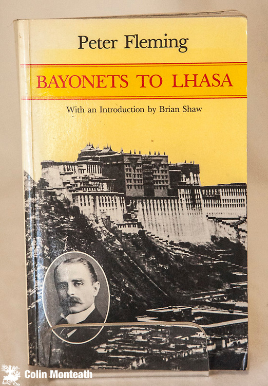 BAYONETS TO LHASA,  Peter Fleming with a new intro by Brian Shaw, Oxford Univ Press, 1995, 316 page softbound,  B&W plates, spine faded otherwise Vg - Fleming's classic 1961 book telling the story of the 1904 British military incursion to Lhasa under General McDonald with Francis Younghusband as political advisor. $28