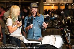 Colt Wrangler Lyons  talks with Jessi Combs at the Handbuilt Show. Austin, TX. USA. Friday April 20, 2018. Photography ©2018 Michael Lichter.