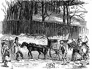 London ice carts: in cold weather London poor collected ice for which they were paid between 12p and 70p per cart of 2 hundredweight, depending on severity of the weather. Ice taken to insulated warehouses and used to keep food fresh in summer.    Wood en