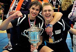 14-04-2012 VOLLEYBAL: FINAL PLAY-OFFS LANGHENKEL VOLLEY - AMBIANT LYCURGUS: DOETINCHEM<br /> Langhenkel Volley kampioen van Nederland  met (L-R) Maarten van Garderen, Daan van Haarlem<br /> ©2012-FotoHoogendoorn.nl