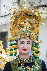 August 13, 2017 - Jember, Indonesia - Model shows fashion creations during Grand Carnival as part of the 16th Jember Fashion Carnival on August 13, 2017 in Jember, East Java, Indonesia. The 16th Jember Fashion Carnival 2017 theme is ''Victory, Unity in Diversity''. This street carnival is claimed to be one of the biggest in the world and comprises more than 1000 performers parading along 3.6 km of road used as the catwalk.(photo by : Fathiyya Ulima) (Credit Image: © Suryanto Putramudji/NurPhoto via ZUMA Press)