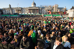 London, March 13th 2016. The annual St Patrick's Day Festival takes place in Trafalgar Square with performances on stage and plenty of Irish food and drink for the thousands of revellers.  PICTURED: Part of the enormous crowd enjoying the craic. ©Paul Davey<br /> FOR LICENCING CONTACT: Paul Davey +44 (0) 7966 016 296 paul@pauldaveycreative.co.uk
