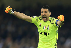 3rd June 2017 - UEFA Champions League Final - Juventus v Real Madrid - Juventus goalkeeper Gianluigi Buffon celebrates their 1st goal - Photo: Simon Stacpoole / Offside.