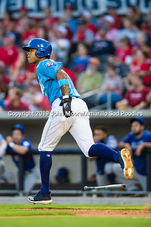 Amarillo Sod Poodles outfielder Buddy Reed (12) hits a home run against the Tulsa Drillers during the Texas League Championship on Tuesday, Sept. 10, 2019, at HODGETOWN in Amarillo, Texas. [Photo by John Moore/Amarillo Sod Poodles]
