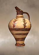 Minoan decorated jug for export, Kommos Harbour 1600-1450 BC; Heraklion Archaeological  Museum. .<br /> <br /> If you prefer to buy from our ALAMY PHOTO LIBRARY  Collection visit : https://www.alamy.com/portfolio/paul-williams-funkystock/minoan-art-artefacts.html . Type -   Heraklion   - into the LOWER SEARCH WITHIN GALLERY box. Refine search by adding background colour, place, museum etc<br /> <br /> Visit our MINOAN ART PHOTO COLLECTIONS for more photos to download  as wall art prints https://funkystock.photoshelter.com/gallery-collection/Ancient-Minoans-Art-Artefacts-Antiquities-Historic-Places-Pictures-Images-of/C0000ricT2SU_M9w