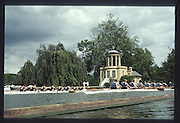 """Henley on Thames. United Kingdom. General Views GV, Crews passing passing the """"folly"""" on Temple Island 1990 Henley Royal Regatta, Henley Reach, River Thames. 06/07.1990<br /> <br /> [Mandatory Credit; Peter SPURRIER/Intersport Images] 1990 Henley Royal Regatta. Henley. UK"""