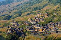 """Chine, Province du Guangxi, region de Longsheng,  rizières de """"l'épine dorsale du dragon"""" de Longji Titian, village de Ping an// China, Guangxi province, rice terraces at Longji around Longsheng, Ping an village"""