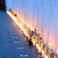 """Forty Lanterns, one for each victim of the crash of Flight 93 line the """"Wall of Names"""" at the Flight 93 National Memorial on the eve of the 14th anniversary of the terrorist attack on America near Shanksville, Pennsylvania on September 10, 2015.  UPI/Archie Carpenter"""