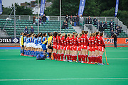 Italy and England line up for the national anthems ahead of their match in the Investec Hockey World League Semi Final 2013, the Quintin Hogg Memorial Sports Ground, University of Westminster, London, UK on 27 June 2013. Photo: Simon Parker